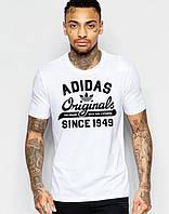 Футболка с притом Adidas Originals 1949 Адидас белая (большой принт) (РЕПЛИКА)
