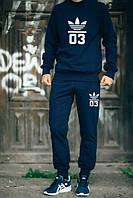Мужской Спортивный костюм Adidas 03 темно синий (большой принт) (РЕПЛИКА)