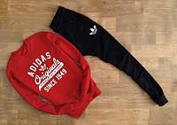 Мужской Спортивный костюм Adidas Originals красный (c большим принтом) (РЕПЛИКА)