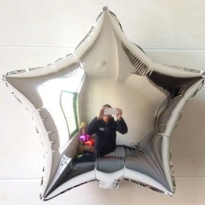 Фольгированный воздушный шар звезда серебро металлик диаметром 45 см