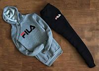 Мужской Спортивный костюм FILA c капюшоном серо чёрный