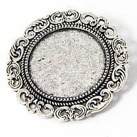 Основа для броши круглая античное серебро 39 м