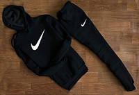 Мужской Спортивный костюм Nike Найк c капюшоном (белый принт) XS (РЕПЛИКА)