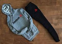Мужской Спортивный костюм Reebok серый с черными штанами c капюшоном (большой принт) (РЕПЛИКА)