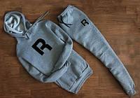 Мужской Спортивный костюм Reebok R серый c капюшоном (большой черный принт)