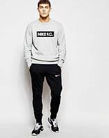 Мужской Спортивный костюм Nike F.C. Найк серо-чёрный (большой принт)
