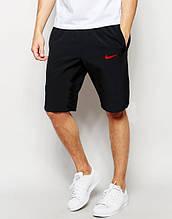 Шорты мужские Nike Найк черные (маленький принт) (РЕПЛИКА)