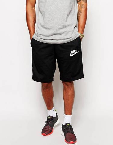 Шорты мужские Nike Найк черные (большой принт) (РЕПЛИКА)
