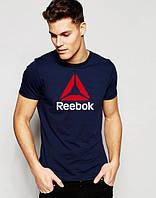 Футболка мужская Reebok Рибок темно-синяя (большой принт)