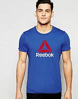 Футболка мужская Reebok Рибок синяя (большой принт)