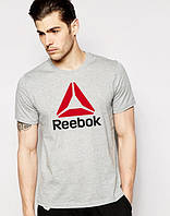 Футболка чоловіча Reebok Рібок сіра (великий принт)