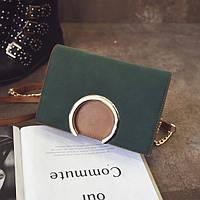 Модная женская небольшая сумка с кольцом на плечо зеленого цвета