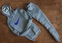 Мужской Спортивный костюм Nike Найк серый c капюшоном (синий принт)