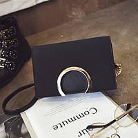 Модная женская небольшая сумка с кольцом на плечо черного цвета