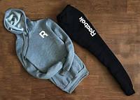 Мужской Спортивный костюм Reebok R серо-черный c капюшоном (белый принт)