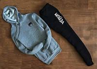 Мужской Спортивный костюм Venum Венум серо-чёрный с капюшоном (маленький принт) (РЕПЛИКА)