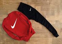 Мужской Спортивный костюм  Nike красный с черными штанами (белый принт)