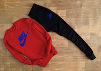 Молодежный Спортивный костюм Nike Найк красный (большой синий принт)