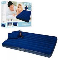 Двухспальный матрас Intex 68765 с насосом 2 подушками