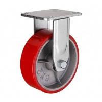Большегрузное полиуретановое колесо с чугунным основанием, неповоротное, диаметр 125 мм
