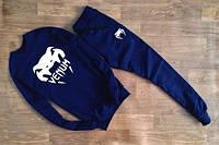 Модный спортивный костюм Venum Венум темно-синий (большой белый принт)