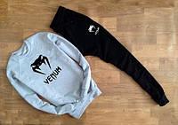 Спортивный костюм мужской Venum Венум серый с черными штанами (большой черный принт) (РЕПЛИКА)