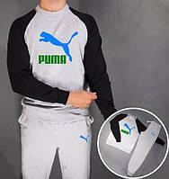 Спортивный костюм Puma Пума серый с черными рукавами (большой принт) (РЕПЛИКА)