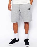 Шорты мужские Nike Найк серые (маленький черный принт) (РЕПЛИКА)