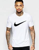 Футболка мужская Nike Найк белая (большой черный принт) (РЕПЛИКА)