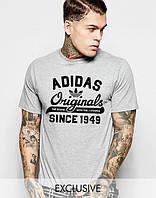 Трикотажная футболка Adidas Originals 1949 Адидас серая (большой принт) (РЕПЛИКА)