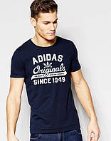 Футболка молодежная Adidas Originals 1949 Адидас темно-синяя (большой принт) (РЕПЛИКА)