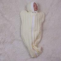 Вязаный кокон-спальник для новорожденных, Weave, цвет айвори