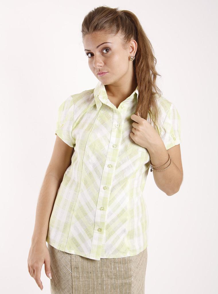 f2d1b1534a5 Женская рубашка с коротким рукавом льняная Р93  продажа