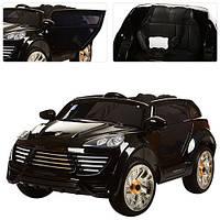 Детский электромобиль с мягкими колесами Porshe Cayene M 2735 EBLR-2 черный, мягкие колеса и кожаное сиденье