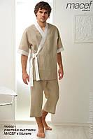 Мужская льняная пижама. Домашняя льняная мужская одежда брюки и рубаха