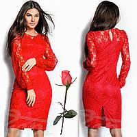 Гипюровое платье с подкладкой в тон Gr 18206 Красный