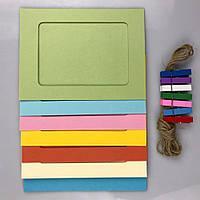 Рамки для фотографий 7 шт +прищепки и шнуровка