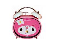 Часы будильник розовый детский с подсветкой