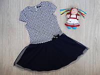 Нарядное платье с заниженой талией для девочки синее р.122-146