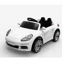Детский электромобиль Porsche M 3446 EBLR-1 белый, мягкие колеса и кожаное сиденье