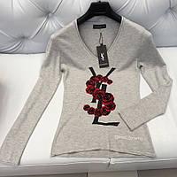 Женский пуловер Yves Saint Laurent YSL серый с розами