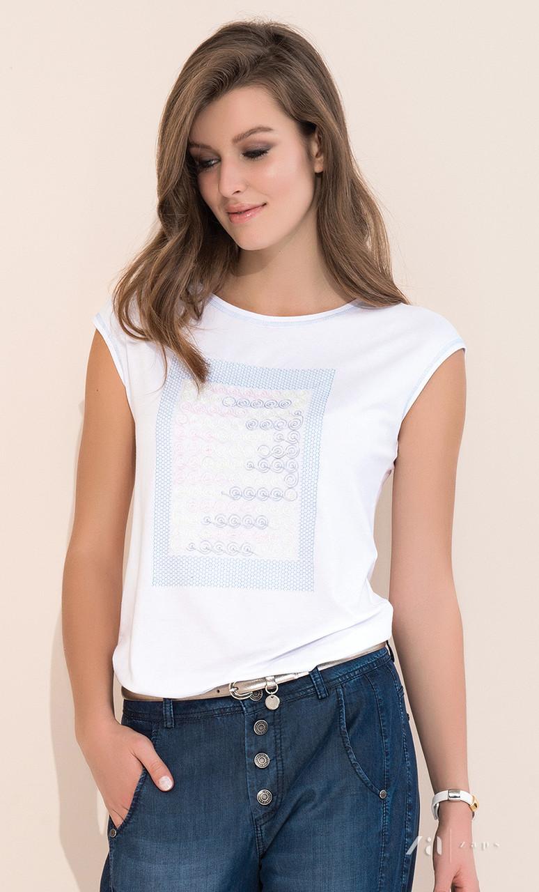 Женская летняя блузка белого цвета с коротким рукавом. Модель Scarlet Zaps, коллекция весна-лето