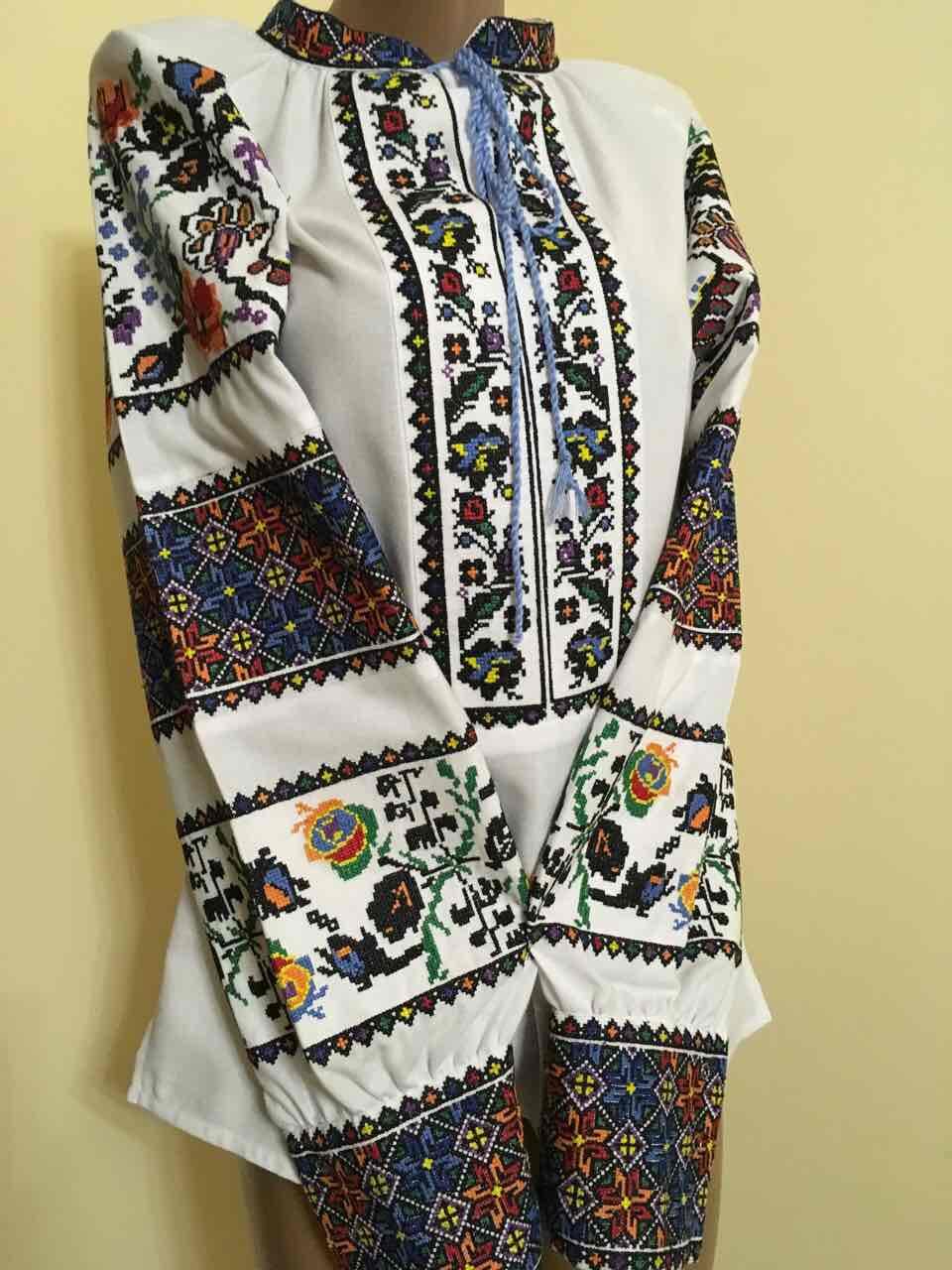 Вишита сорочка жіноча на стійку Борщівські мотиви L-XL (46-48 розмір ... ef946dbd5afff