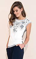 Женская летняя блузка молочного цвета с коротким рукавом. Модель Selma Zaps, коллекция весна-лето 2017.