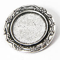 Основа для броши круглая античное серебро 30 м