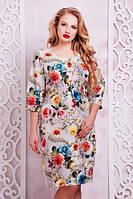 """50-60 размеры, Красивое летнее женское платье батал """"Виталинка"""" с цветами большого размера романтичное"""