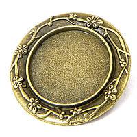 Основа для броши круглая бронза 30 м