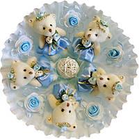 Букет из 5 мягких игрушек Мишки небесно голубой