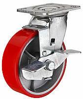 Большегрузное полиуретановое колесо с чугунным основанием, поворотное с тормозом, диаметр 200 мм