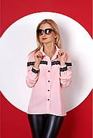 Женская рубашка с длинным рукавом 381 (пудровый)